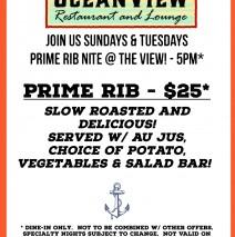 Prime Rib Nite – Sundays & Tuesdays